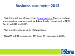Business barometer 2013 - SIVA International Management AS