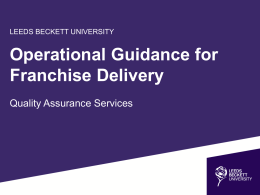 Operational Guidance - Leeds Beckett University