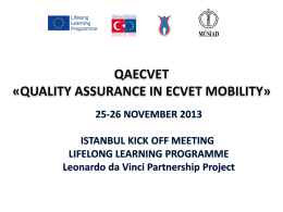 «QUALITY ASSURANCE IN ECVET MOBILITY»