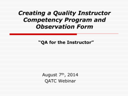 Creating a Quality Instructor Competency Program and