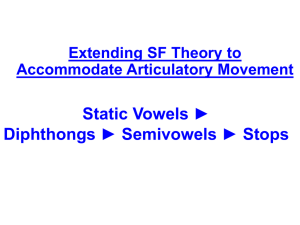 Static Vowels * Diphthongs * Semivowels * Stops