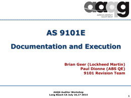 AS9101 Documentation and Execution