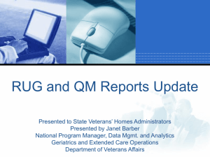 Qm reports - National Association of State Veterans Homes
