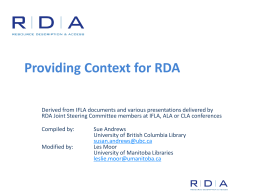 P2 - Providing Context for RDA