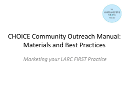 CHOICE Community Outreach: Materials & Best Practices