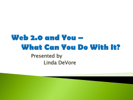 Web 2.0 -- What You Can You Do With It