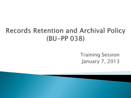 Records Retention and Archival Policy (BU-PP 038)