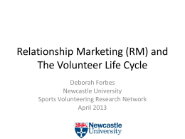 Relationship Marketing and Volunteering
