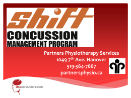 Concussion Presentation (pp) - Partners Physiotherapy Service