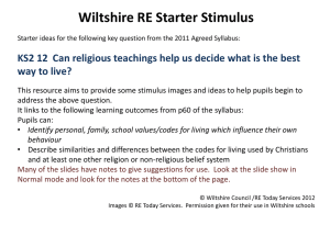 Wiltshire RE starter resources