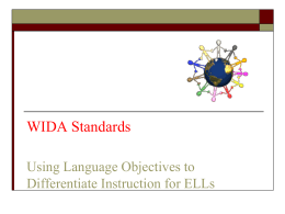 WIDA Standards: Using Language Objectives to Differentiate