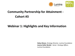 Webinar 1 - Lumina Foundation for Education