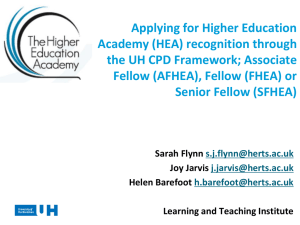 Recognition as a Professional Teacher in HE: The Higher