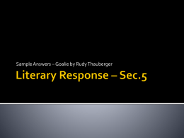 Literary Response Review