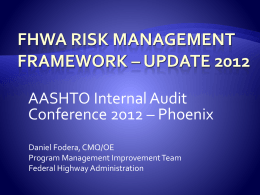 FHWA Risk Management Framework, Update 2012