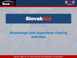 SlovakAid Knowledge and experience sharing