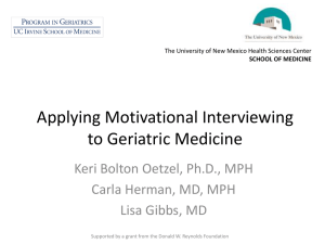 Applying Motivational Interviewing to Geriatric Medicine