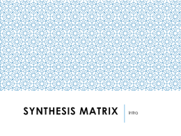 Synthesis Matrix into