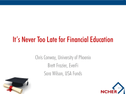Financial Education is a Lifelong Endeavor