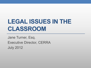 Legal Issues in the Classroom (PowerPoint)