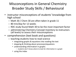 Misconceptions in General Chemistry Broader Study Skills