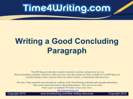 Writing a Good Concluding Paragraph