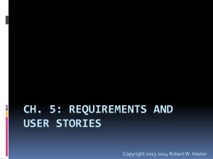 Ch. 5: Requirements and User Stories