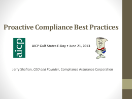 Self Audits / Proactive Compliance Best Practices