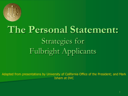 The UC Personal Statement: Strategies for Students