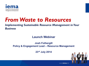 From Waste to Resources - Taking Action on Sustainable Resource