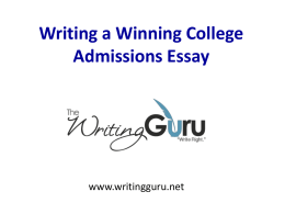 Writing a Winning College Admissions Essay