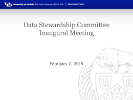 Data Stewardship Committee Inaugural Meeting