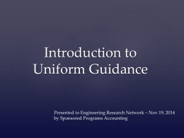 Intro to Uniform Guidance