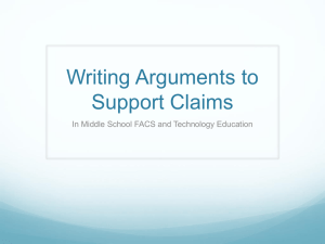 Writing Arguments to Support Claims