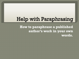 Help with Paraphrasing - School of Social Work