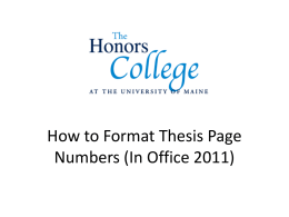 How to Format Thesis Page Numbers