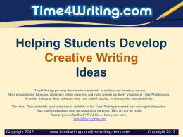 Helping Students Develop Creative Writing Ideas