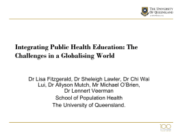 Integrating Public Health Education: The Challenges in a