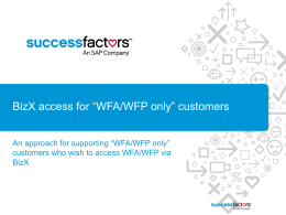 Configuring BizX access for WFA only customers