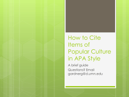 Citing Popular Culture in APA