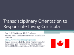 Transdisciplinary Orientation to Responsible Living Curricula (2012)