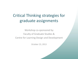 Assignment Design for Critical Thinking