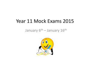 Year 11 Mock Exams 2015