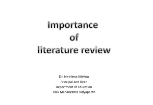 The Literature Review - Tilak Maharashtra Vidyapeeth