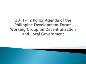 Policy Agenda of the PDF-WG on Decentralization and Local