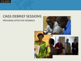 ClASS Debrief Sessions - Providing Effective Feedback