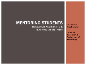 Student Mentoring - Research Assistants and Teaching Assistants