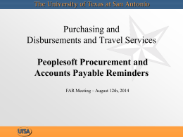 PeopleSoft Procurement and Payment Updates