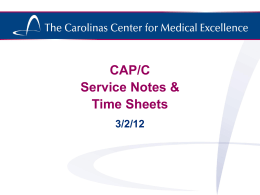 CAP/C Service Notes & Time Sheets