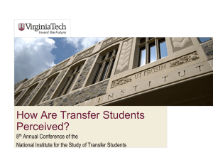 How Are Transfer Students Perceived?